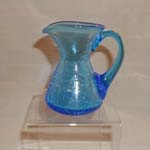 Blue Crackle Glass Pitcher