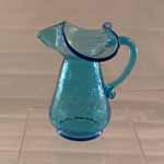 Blue Crackle Pitcher Ruffled